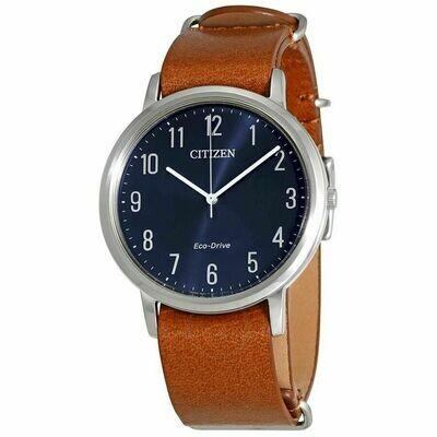 Reloj Hombre Citizen Eco Drive BJ6500-12L correa cuero Men's Blue Dial Brown Leather Band 40mm Watch