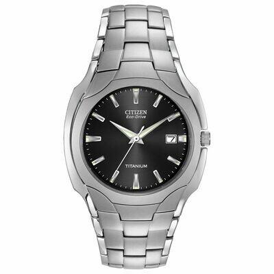 Reloj Hombre Titanio Citizen Eco-Drive BM6560-54H Men's Black Dial Titanium Bracelet 38mm Watch