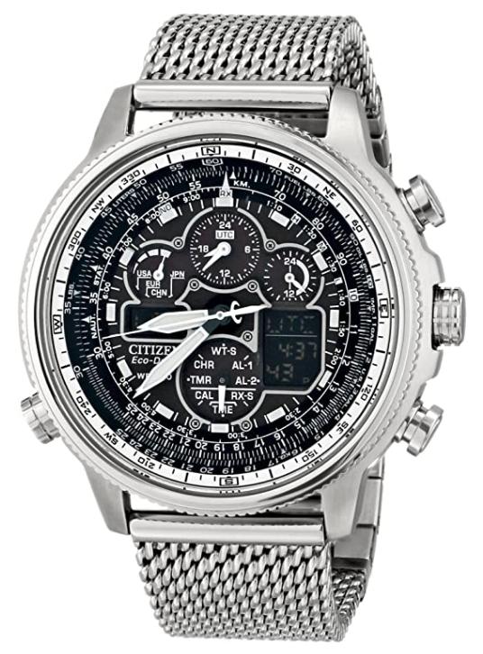 Reloj Hombre Citizen Promaster NaviHawk JY8030-83E Chrono AT Black Dial Mesh Band Men's Watch