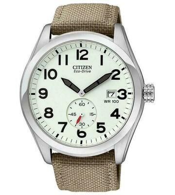 Reloj Hombre Citizen Eco-Drive Men's Calendar Ivory Dial Canvas Strap 43mm Watch BV1080-18A correa tela