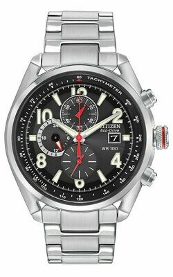 Reloj Hombre Citizen Eco-Drive CA0368-56E Men's Chandler Chronograph Black Dial Watch 45mm