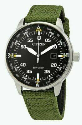 Reloj Hombre Citizen Eco-Drive BM7390-31X Men's Date Calendar Green Nylon Strap 42mm Watch correa tela
