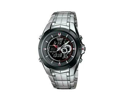 Reloj Hombre Casio Edifice EFA-119BK-1A Hora Mundial Temperatura correa acero