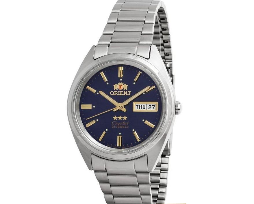 Reloj Automático Unisex Orient 3 Star FAB00006D dial azul correa acero