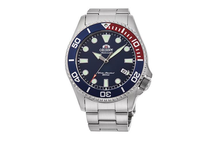 """Reloj Automático Hombre Buceo Orient RA-AC0K03L """"pepsi"""" 43.4mm correa acero cristal zafiro 70th Anniversary"""
