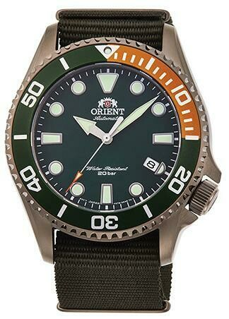 Reloj Automático Buceo Hombre Orient RA-AC0K04E correa tela 43.4mm dial verde cristal zafiro