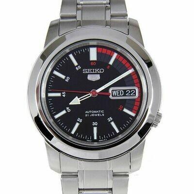 Reloj Automático Hombre Seiko 5 SNKK31K1 dial negro rojo correa acero