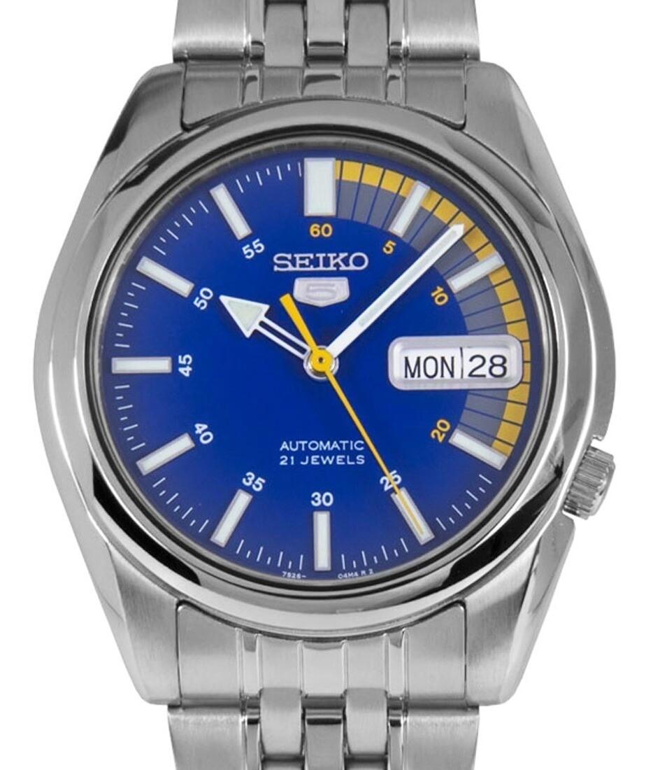 Reloj Automático Hombre Seiko 5 SNKK27K1 dial azul correa acero