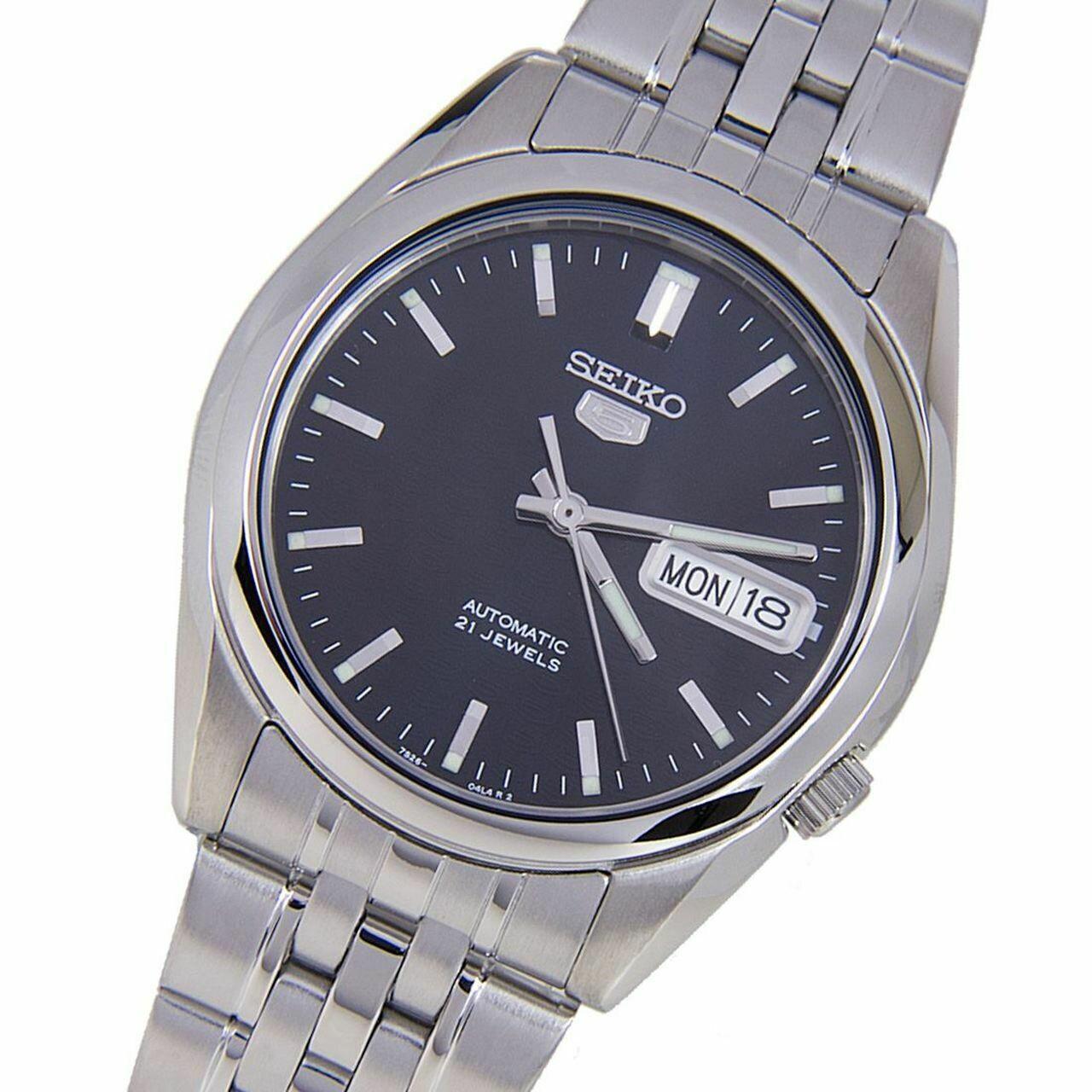 Reloj Automático Hombre Seiko 5 SNK357K1 dial azul oscuro correa acero