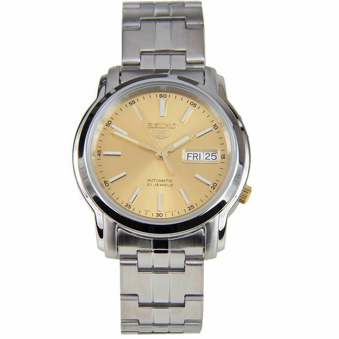 Reloj Automático Hombre Seiko 5 SNKL81K1 dial dorado acero