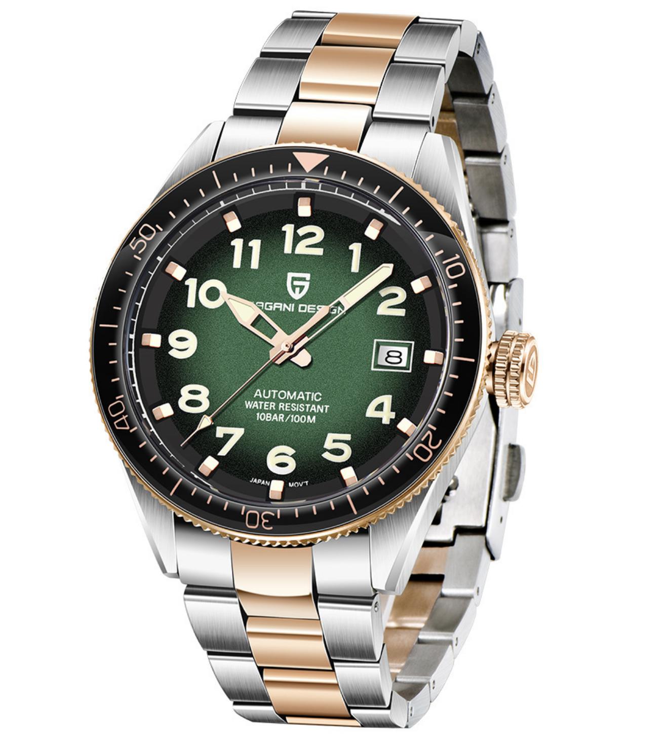 Reloj Automático Hombre Pagani Design pd1649 verde oro rosa correa acero