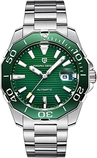 Reloj Pagani Design pd1617 verde hombre automático luminoso calendario
