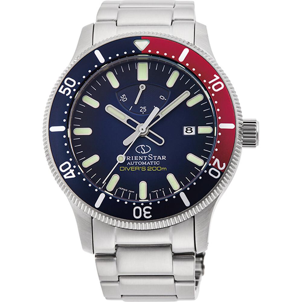 """Reloj automático hombre Orient Star Sports RE-AU0306L dial azul """"pepsi"""" correa acero cristal zafiro anti-reflejo 200m"""