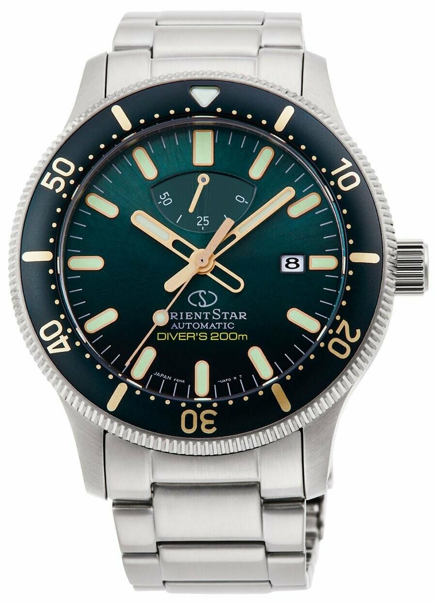 Reloj automático hombre Orient Star Sports RE-AU0307E buceo dial verde acero cristal zafiro anti-reflejo