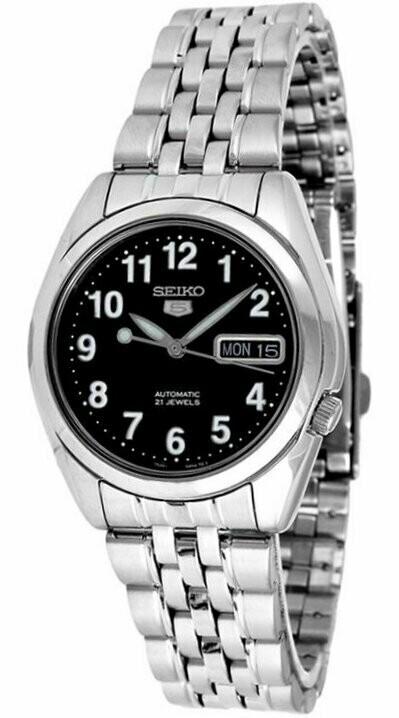 Reloj automático hombre Seiko 5 SNK381K1 correa acero dial negro