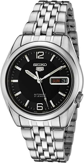 Reloj Automático hombre Seiko 5 SNK393K1 dial negro correa acero