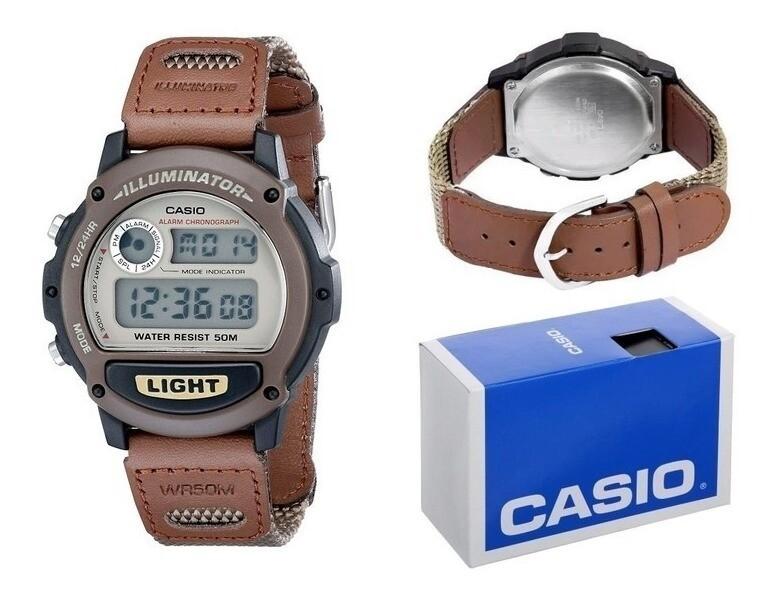 Reloj deportivo hombre Casio W89HB-5A correa tela cuero Luz alarma