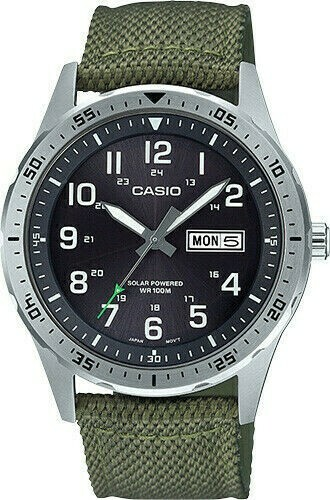 Reloj hombre deportivo Solar Casio MTPS-120L-3A correa tela dial negro 100m