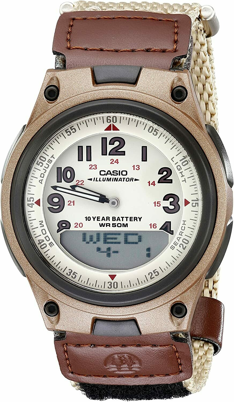 Reloj hombre deportivo militar Casio AW-80V-5B correa tela 10 años batería telememo 30 luz de fondo