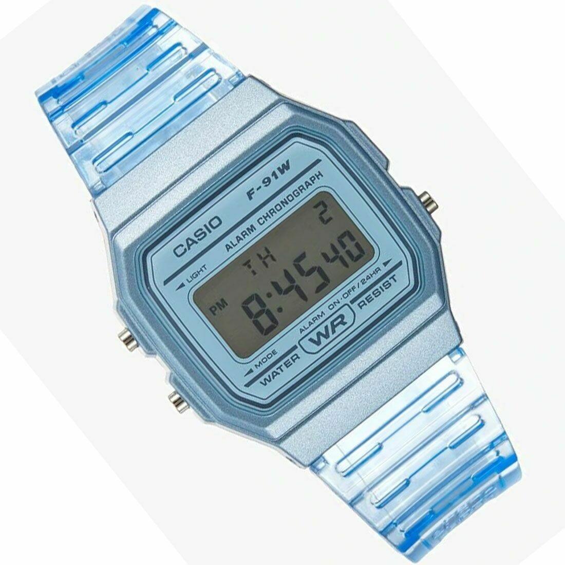 Reloj Clásico Casio F91WS-2 Azul correa resina 7 años batería alarma cronómetro