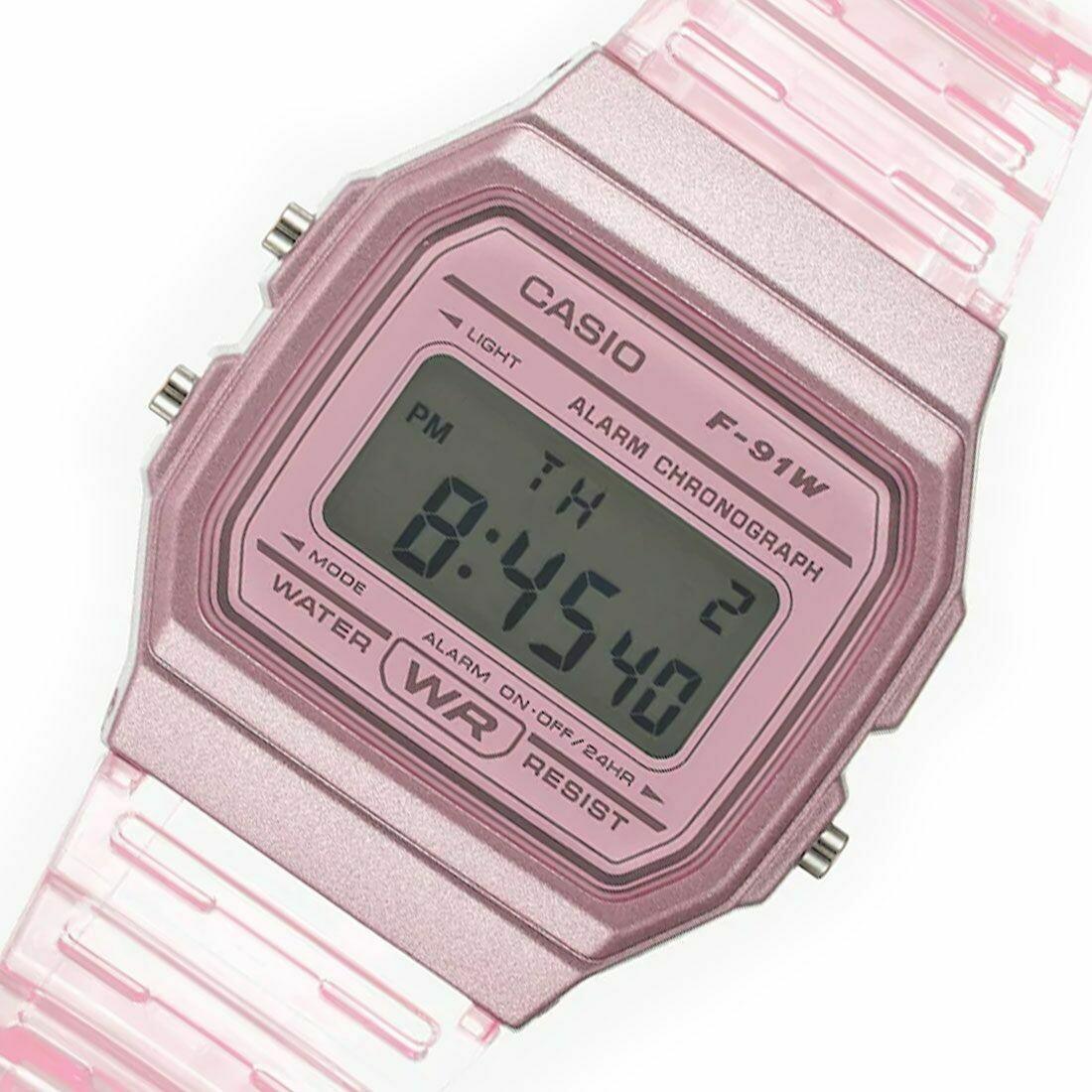 Reloj Clásico Casio F91WS-4 rosa correa resina 7 años batería alarma cronómetro