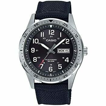 Reloj hombre deportivo Solar Casio MTPS-120L-1A correa tela dial negro 100m