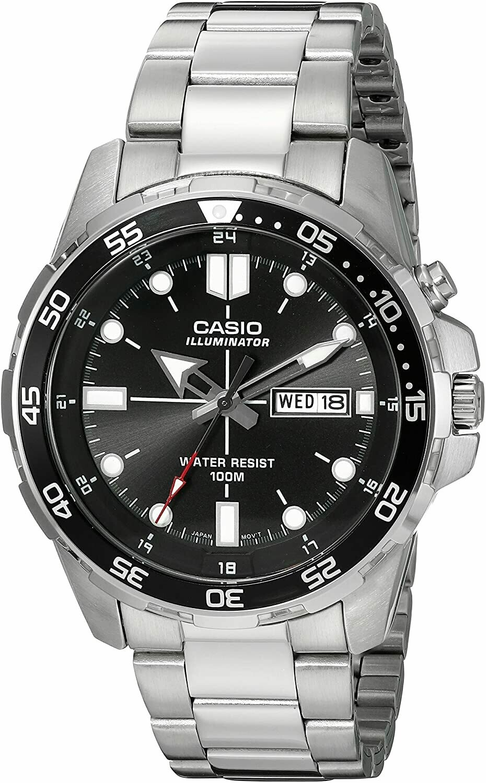 Reloj hombre deportivo Casio MTD-1079d-1A correa acero dial negro
