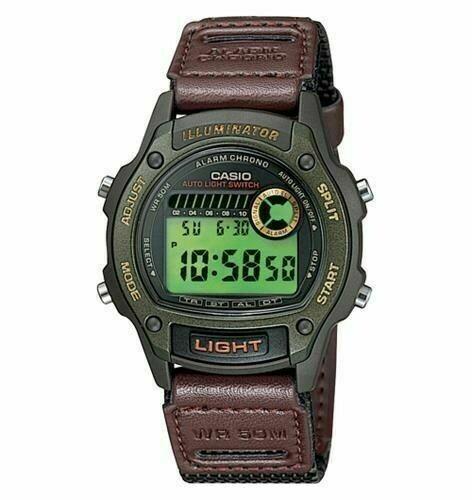 Reloj deportivo hombre Casio W94HF-3A hora doble correa cuero tela luz