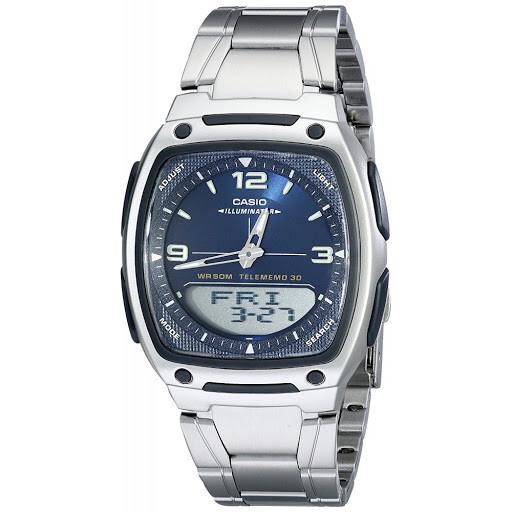 Reloj deportivo clásico hombre Casio AW-81D-2A dial azul correa acero inoxidable 30 telememo 10 años batería Hora Mundial