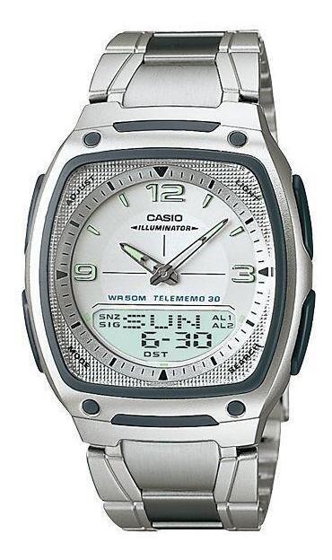 Reloj deportivo clásico hombre Casio AW-81D-7A dial azul correa acero inoxidable 30 telememo 10 años batería Hora Mundial