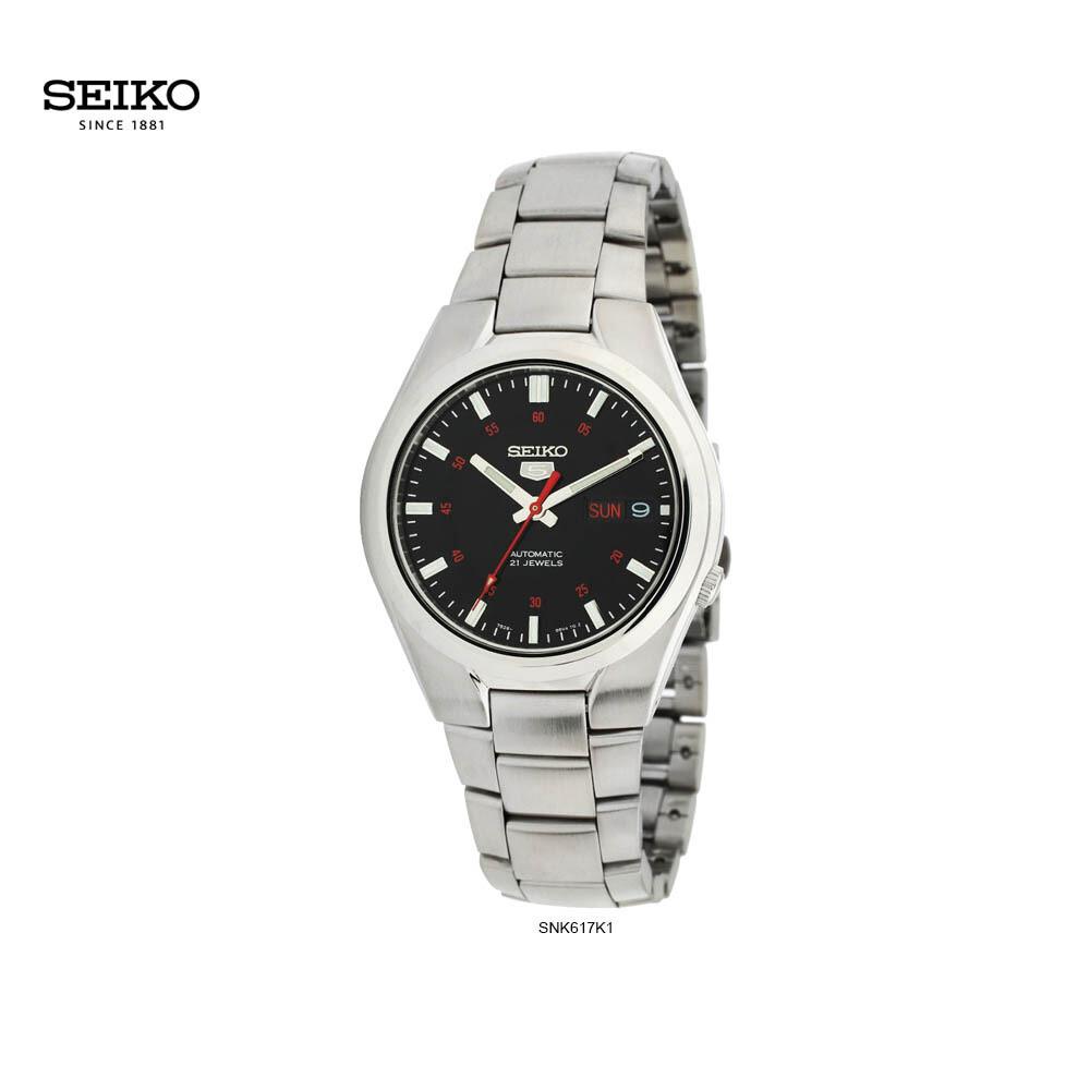 Reloj automático hombre Seiko 5 Sport SNK617K1 dial negro 37mm correa acero