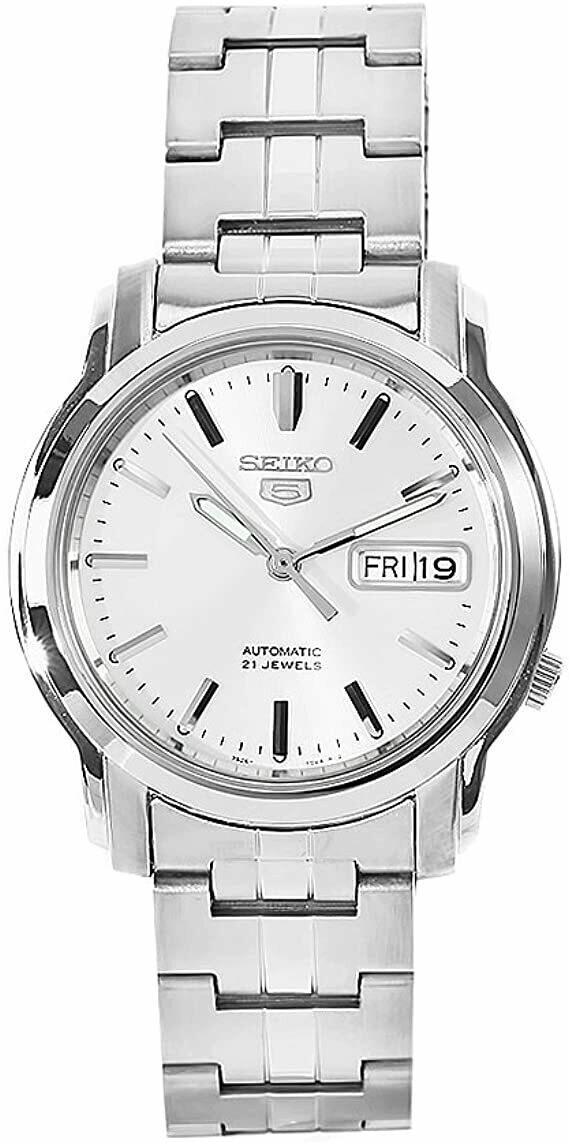 Reloj automático hombre Seiko 5 SNKK65K1 dial plata 38mm correa acero