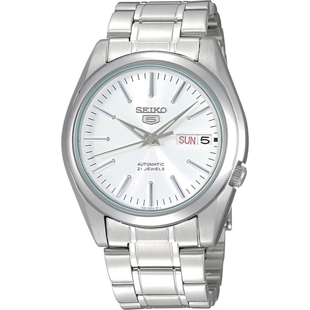 Reloj automático hombre Seiko 5 SNKL41K1 dial blanco plata 38mm correa acero