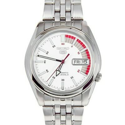 Reloj automático hombre Seiko 5 SNK369K1 Speed Racer dial blanco correa acero