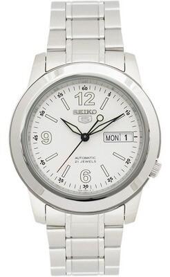 Reloj automático hombre Seiko 5 SNKE57K1 dial blanco 38mm correa acero