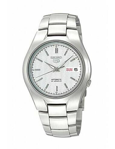 Reloj automático hombre Seiko 5 SNK601K1 dial blanco correa acero 37mm