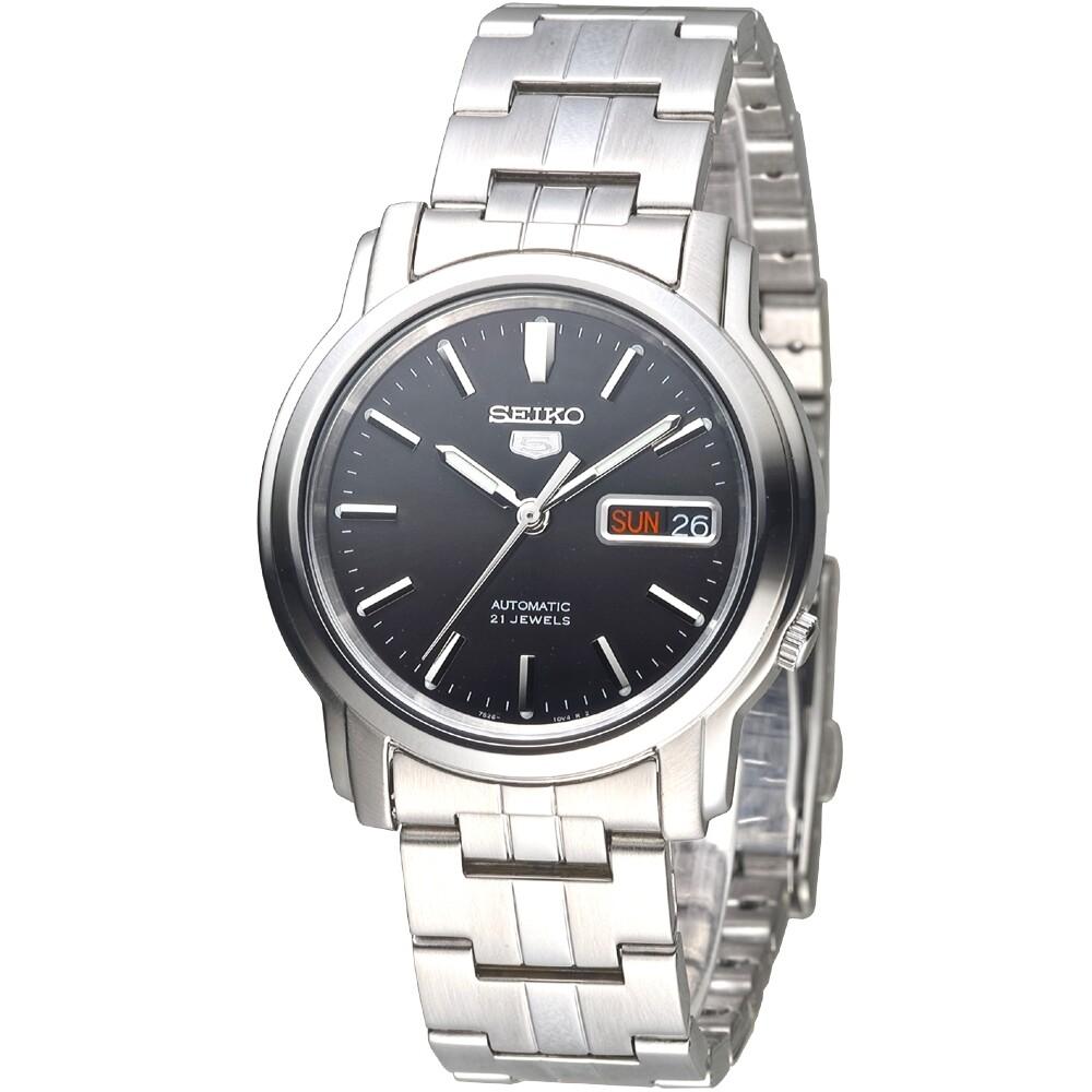 Reloj automático hombre Seiko 5 SNKK71K1 dial negro 38mm correa acero