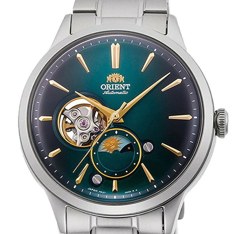 Reloj automático hombre Orient Sun & Moon RA-AS0104E dial verde Limited Edition 70th Anniversary correa acero