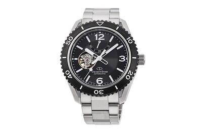 Reloj automático hombre Orient Star RE-AT0101B dial negro Semi-Skeleton cristal zafiro correa acero