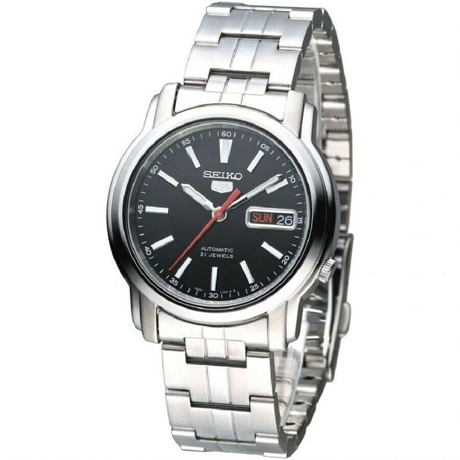 Reloj automático hombre Seiko 5 SNKL83K1 dial negro 37mm correa acero