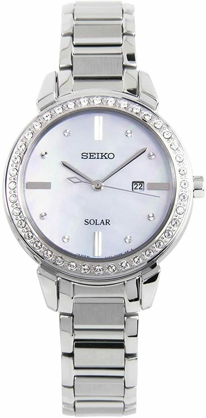 Reloj mujer Solar Seiko Solar Diamond Accent SUT327P1 Cristales de Swarovski dial Madreperla 32mm correa acero