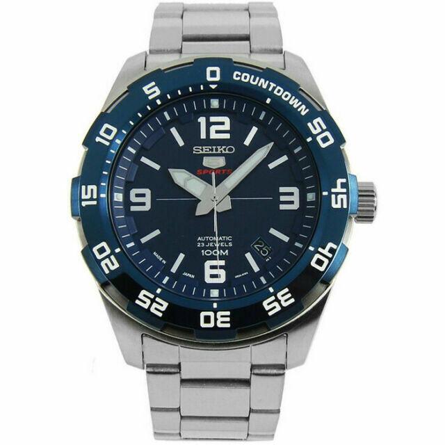 Reloj Automático hombre Seiko 5 Sports SRPB85K1 dial azul 44mm correa acero 100m Water Resist