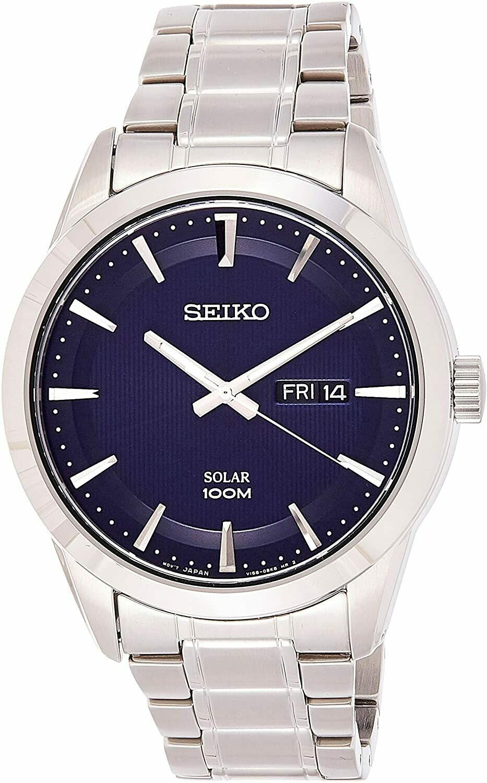 Reloj Solar hombre Seiko Solar SNE361P1 43mm dial azul correa acero 100m water resist