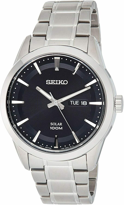 Reloj Solar hombre Seiko SNE363P1 dial negro 43mm correa acero 100m water resist