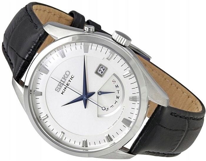 Reloj hombre automático Seiko Kinetic SRN071P1 dial beige 43mm correa cuero 100m water resist