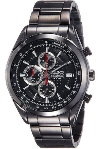 Reloj hombre Seiko Neosports SSB179P1 Chrono Ion coated steel bracelet 45mm black dial 100m water resist
