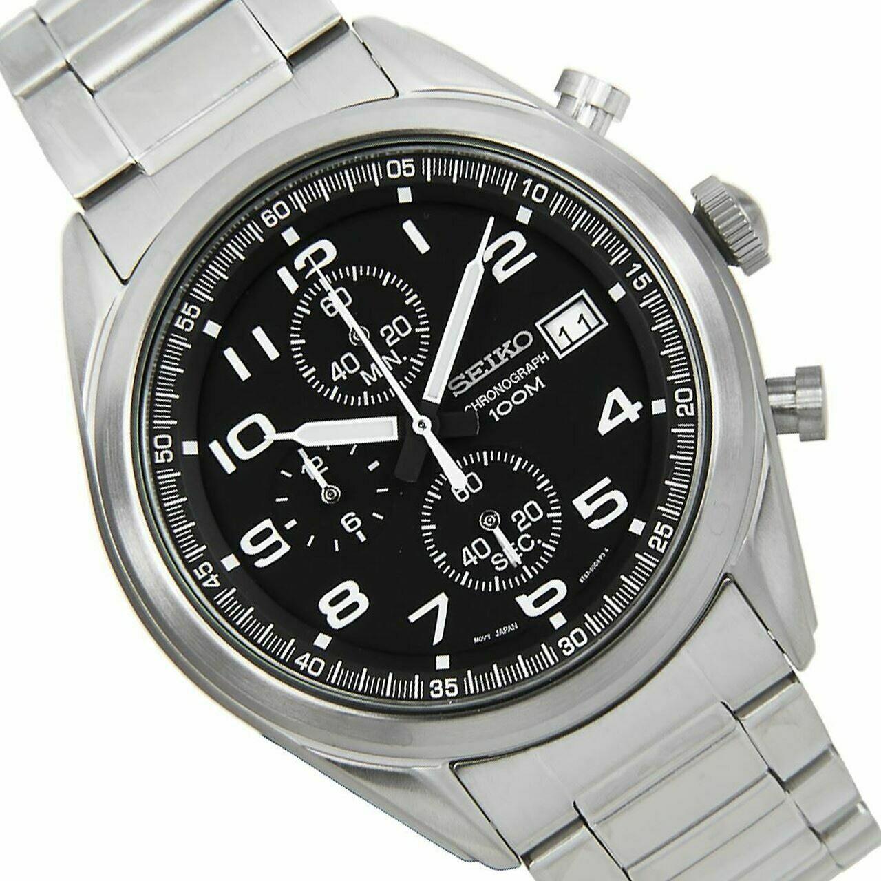 Reloj hombre Seiko Neosports SSB269P1 Chrono dial negro 45mm correa acero 100m water resist