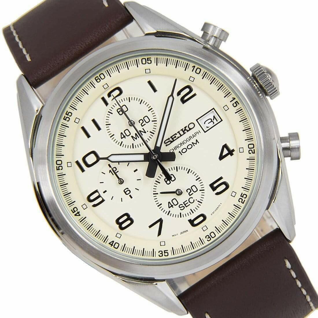 Reloj Deportivo hombre Seiko Neosports SSB273P1 dial beige 45mm correa cuero 100m water resist