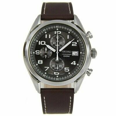 Reloj Deportivo hombre Seiko Neosports SSB275P1 Chrono dial negro gris 45mm correa cuero 100m water resist
