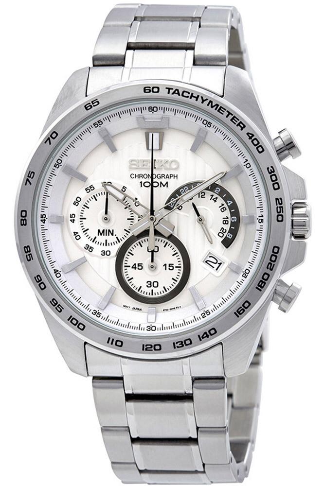 Reloj deportivo hombre Seiko Neosports SSB297P1 Chrono dial blanco 44m correa acero 100m water resist